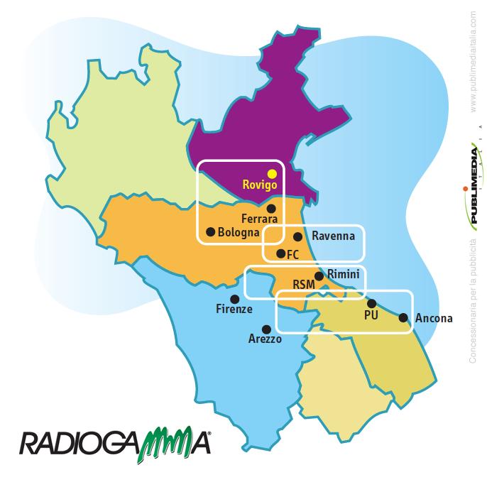Copertura territoriale di Radio Gamma
