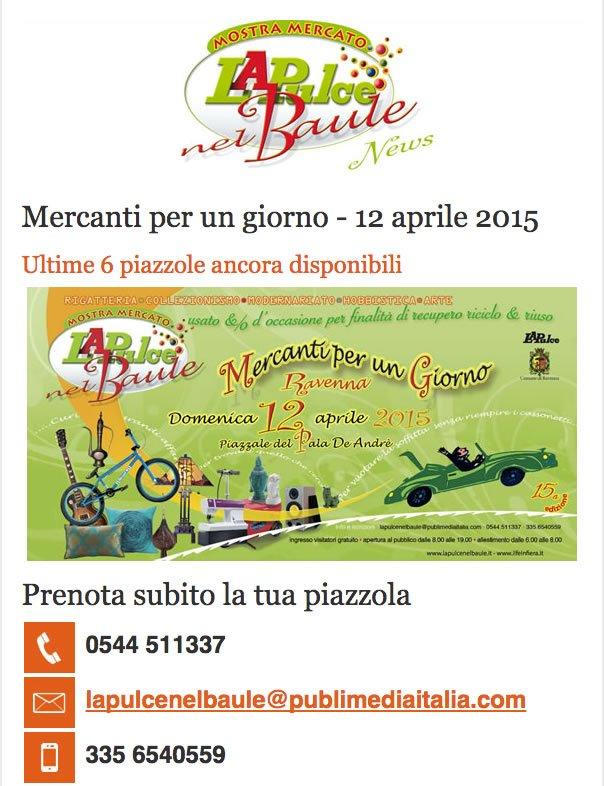 La newsletter inviata in occasione de La Pulce nel Baule del 12 aprile 2015