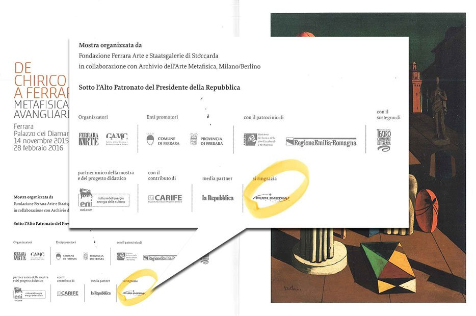 Cartolina di invito alla mostra di De Chirico, Publimedia è partner della mostra