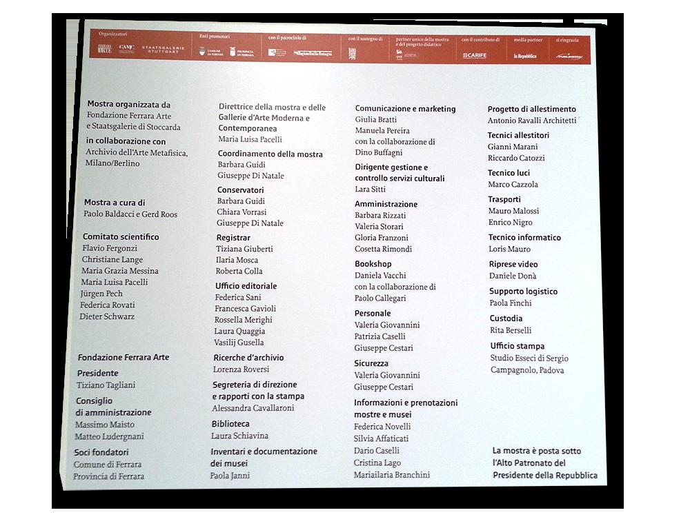 L'elenco del comitato organizzativo della mostra di Giorgio De Chirico a Ferrara
