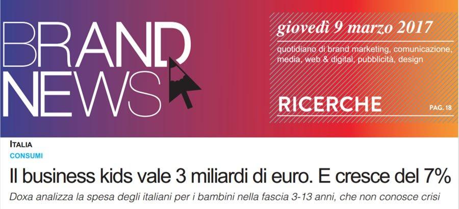 BrandNews conferma il dato sulla spesa degli italiani nel business kids +7%