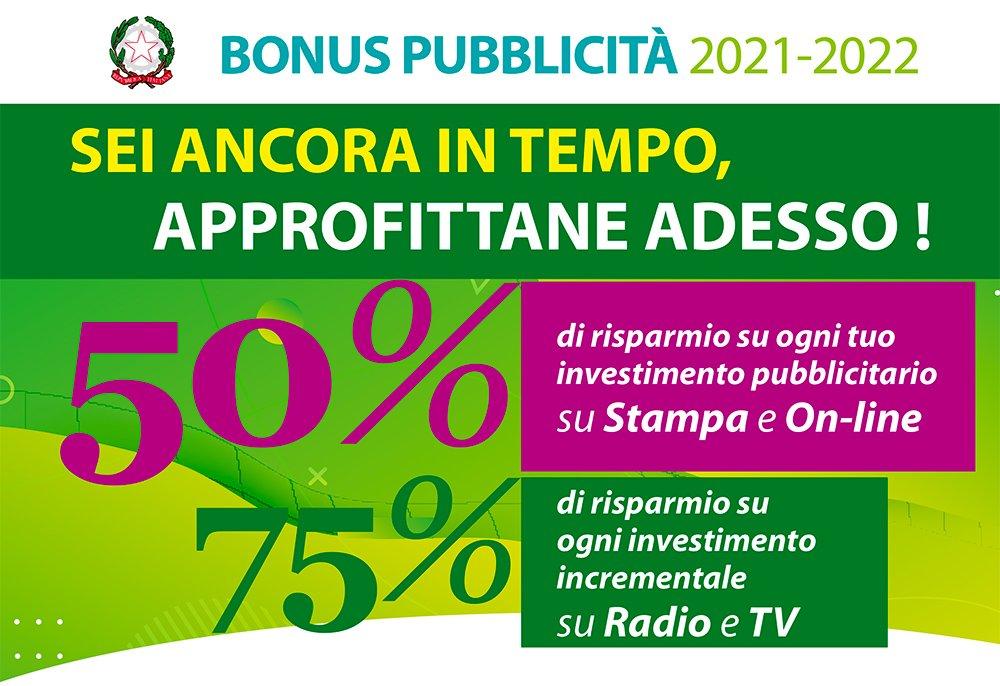 bonus pubblicità 2021 tv radio stampa online